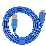 Pinsofy Micro Cable USB 3.0, Azul Práctico Cable USB A/B Micro para computadora para Impresora para Unidad de Disco Duro para PC(1 m)