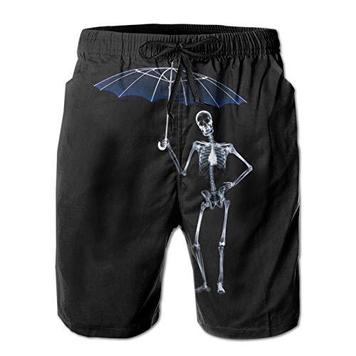 MayBlosom Pantalones cortos de playa para hombre, divertidos cráneos de verano, de secado rápido, pantalones cortos de tabla con estampado 3D de ropa de playa con cordón