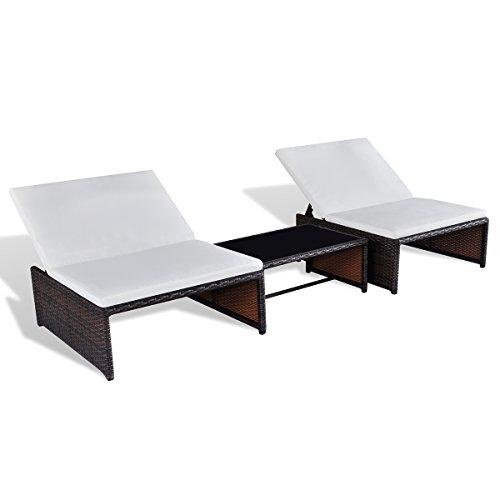 LD Poly Rattan Lettino Prendisole Lounge 2 Posti Mobili Da Giardino Tavolo Schienale Regolabile