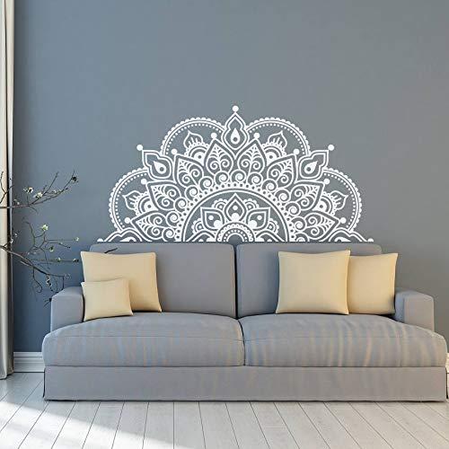 Pegatina de pared de media mandala para amantes de la yoga, calcomanía de regalo para pared, cabecera de cama, pegatinas para ventana de coche, papel tapiz de mandala extraíble A8 116x57cm