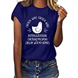 YANFANG Camiseta Suelta Blusa Tops, Mujeres Casual Letter Print Manga Corta O-Cuello Camisas Deportivas para Mujer, Blusa,Vino,Negro,Azul