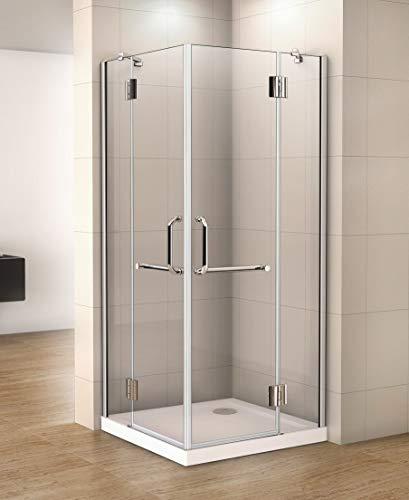 dubbele deur douchecabine 100x80x190cm,draaideur hoekinstap,8mm helder veiligheidsglas nano easyclean antikalk