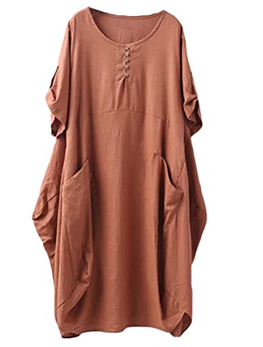 Minibee Women's Ruffle Oversize Casual Midi Dresses with Pockets Brown M