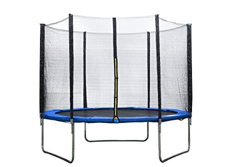 Trampolín de jardín con red de seguridad, 305 cm, color azul