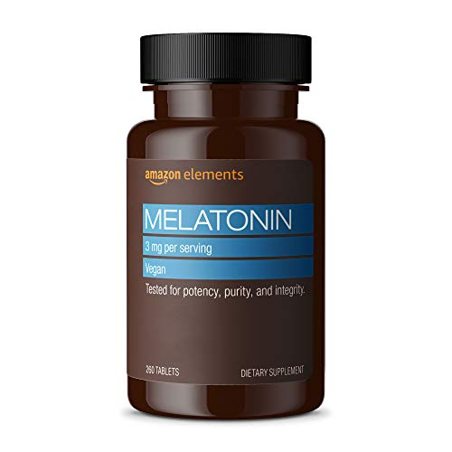 Amazon Elements Melatonin 3mg, Helps with occasional sleeplessness, Vegan, 260 Tablets, 8 month supply (Packaging may vary)