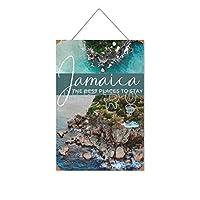 ジャマイカ滞在するのに最適な場所木製のリストプラーク木の看板ぶら下げ木製絵画パーソナライズされた広告ヴィンテージウォールサイン装飾ポスターアートサイン