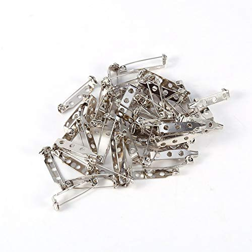 Packung von 50 Stück Broschennadeln Sicherheitsnadel für DIY Handwerk 20/25/32/38 mm, Silber(25mm)