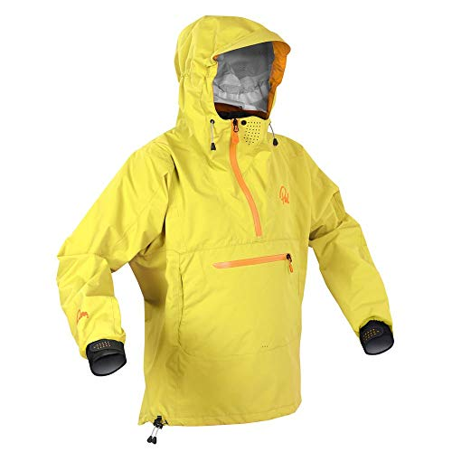 Palm Kajak oder Kajak - Vantage Langärmliger Touring Mantel Jacke Mantel Gelb - 3D beweglicher Schnitt - Klettverschluss an den Ärmeln