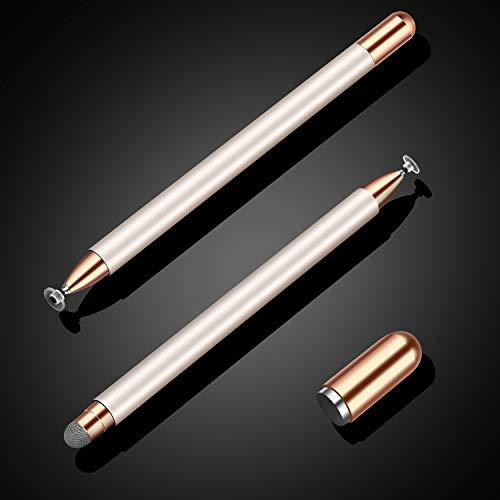 MEKO 2 in 1 Eingabestift Disc Touch Stift universal Touch Pen Stylus 100% kompatibel mit Allen Tablets Touchscreen iPhone iPad Surface Huawei usw, magnetische Kappe (Champagner)