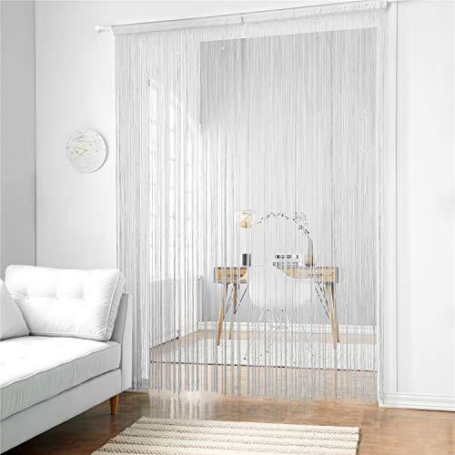 Taiyuhomes Klassische Spaghetti-Schnur-Vorhang-Platte für Hauptdekor und Teiler mit dekorativem Streifen-Quasten-Entwurf (White, 90x240)