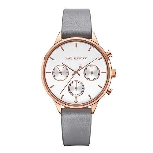 PAUL HEWITT Armbanduhr Damen Everpulse Line White Sand - Damen Uhr (Rosegold), Damenuhr mit Lederarmband (Graphite), weißes Ziffernblatt