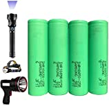 For 10000 Lumens Bright Tactical Flashlight Power: 25R 2500mAh 18650 Battery Rechargeable, Support LED flashlight 24 hours(4PCS included)