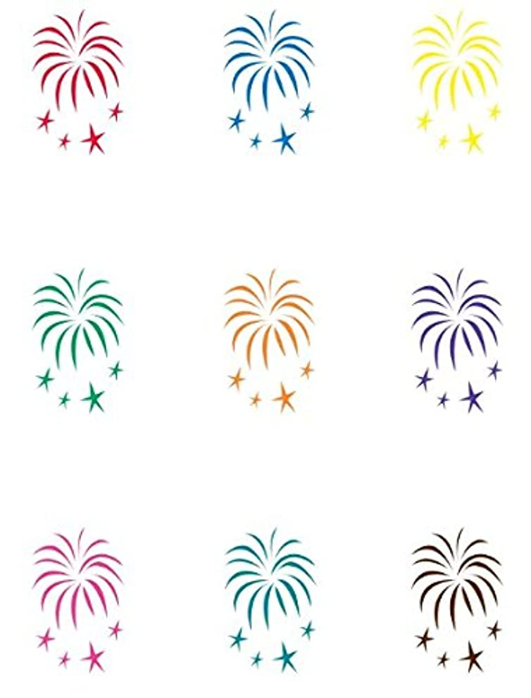 Wine Glass Decals by Wine Wear [Fireworks] - Wine Glass Wear (set of 9)