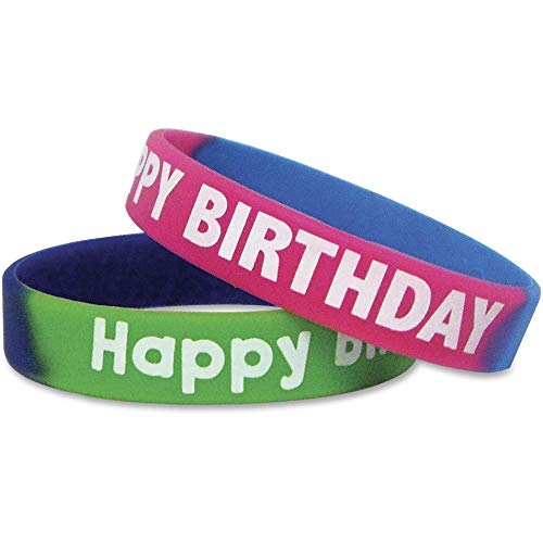 Two-Toned Happy Birthday Wristbands, Assorted Colors, 10/Pack, Sold as 1 Each