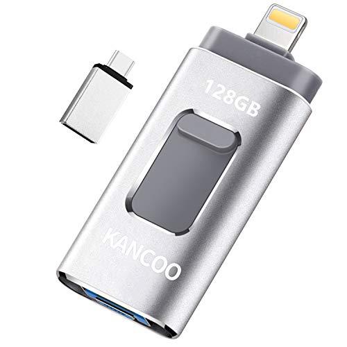 Memoria USB 3.0 128GB para iPhone y iPad OTG [4 en 1] Pendrive Memoria Flash USB Compatible con USB C/Android/PC/iOS13/ Macbook - Plata