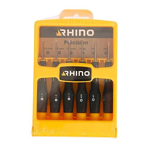 Rhino 16042 Juego de 6 precisión en Cruz Mini Destornillador – Plano (1,4 a 2,4 mm) Cruciforme Hoja Cromo Vanadio – Reparar Gafas, Smartphones, NC, 1,4/1,8/2,4 / PH00 / PH0 / PH1
