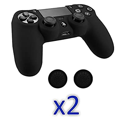SlickBlue 2 Pack Flexible Silicone Protective Skin Case with Thumb Grip JoyStick Cap Cover For Sony PS4 Game Controller - Black [PlayStation 4]