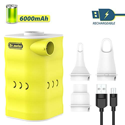 Dr.meter Elektrische Luftpumpe Luftmatratze Pumpe, Elektropumpe Power Pump Inflator Deflator mit 3 Luftdüse für aufblasbare Matratze,Kissen,Bett,Boot,Schwimmring