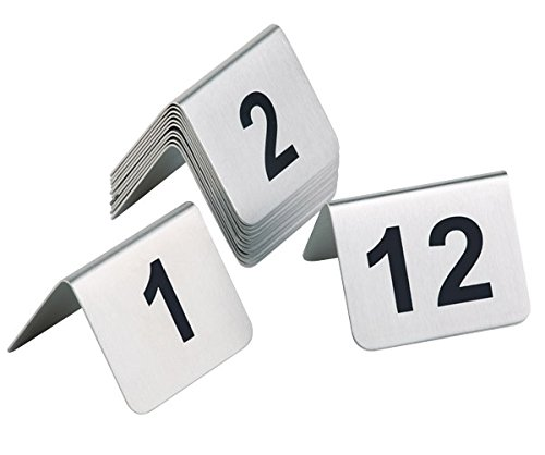 getgastro Tischnummernschild aus Edelstahl, matt poliert, Zahlen aus schwarzem Siebdruck, schwere Qualität, VE: 12, aufeinanderfolgende Zahlen / 5,3 x 4,5 cm | Sun (A1-1-12)