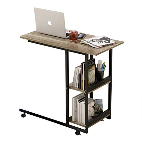 Overbed Table with Wheels Small Computer Desk Mobile Laptop Table 2 Layers Storage Medical Hospital Bedside C Table Home Office Study Reading Desk Dining Breakfast Table Sofa Couch Side Table