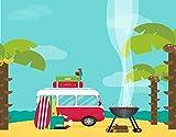 DIY Pintar por Números para Niños Y Principiante Y Adultos,Explore Caravan Camping con parrilla y tablas de surf Tropical Beach Banana Co,Regalo Pintura al óleo Conjunto de Kit Lienzo Decor,20' x 16'