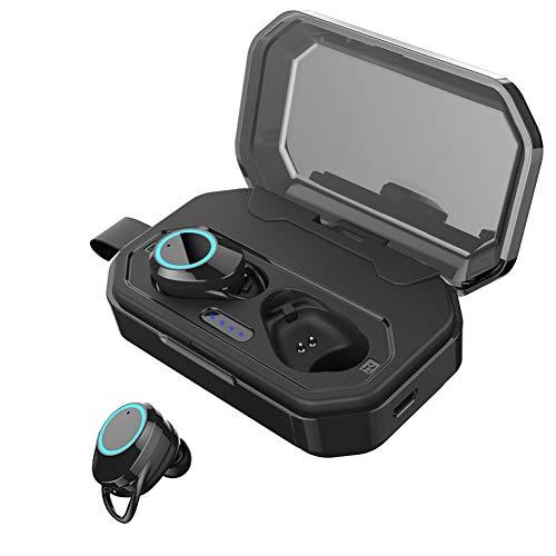Bluetooth Earbuds 5.0 True Wireless Headphones, FulTech Latest in-Ear Earphones IPX7 Waterproof Sweatoroof 3D Stereo Hi-Fi Sound Headset with Leather Belt Lanyard, 3000mAH Charging Case, Built-in Mic