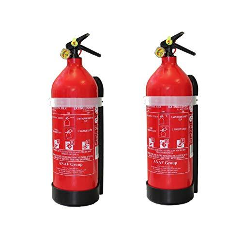 2X Fettbrandlöscher Basic für den Haushalt ninux ABF Feuerlöscher Schaum 2 Liter mit Halterung und Manometer