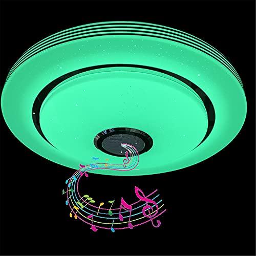 Plafón De Baño LED Con Altavoz Bluetooth, Lámpara De Techo De Cielo Estrellado Regulable RGB, Control Remoto Y Control De APP, Luces De Techo De Música Impermeable IP44 Para Cocina,40cm100w
