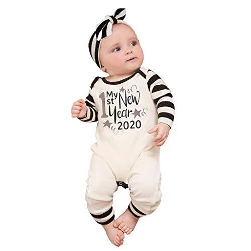 Sannysis 3 Stück Baby Overall + Stirnband + Kapuze Set Jumpsuit Strampler Einteiler Sprüche Jungen Mädchen mit Aufdruck Motiv Born 2020 (70, Weiß)