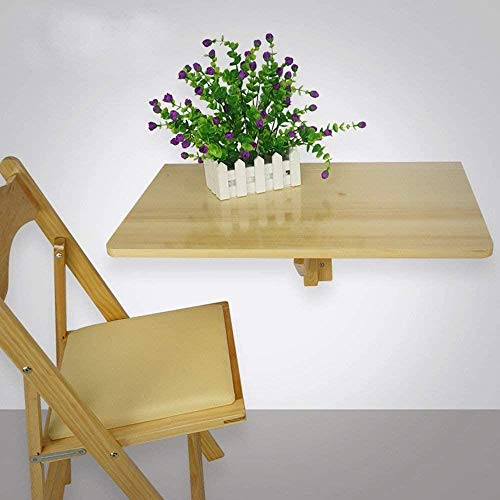 Lazy Table - Mesa plegable de madera para pared de 60 x 40 cm, para ahorrar espacio, color madera