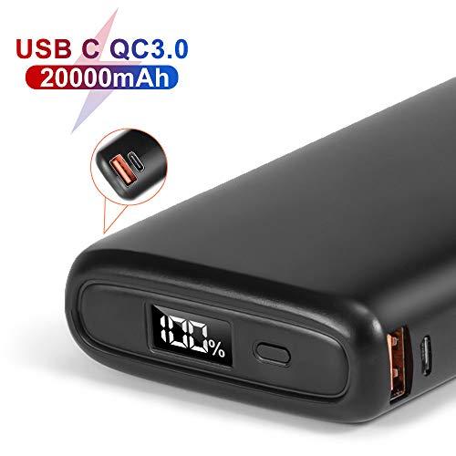 POSUGEAR 20000mAh Powerbank USB C, Powerbank Schnellladefunktion (18W PD & Quickcharge 3.0) mit 3 Ausgängen, LED Display Kompatibel mit Handy, Laptop (Zwei Kabel Angeboten-Type C & Micro)…