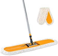Yocada Commercial Industrial Cotton Mop Dust Floor Mop 59 Inch Telescopic Handle with Total 2 Microfiber Polyester Mop Pads for Cleaning Office Garage Hardwood Warehouse Factory Mall Deck