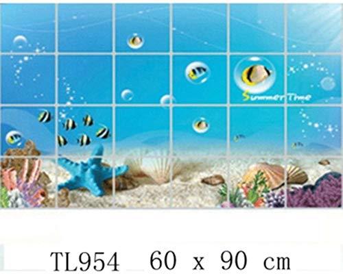 Waterdichte badkamer tegel aluminiumfolie muursticker interieur muursticker dolfijn vis strand oceaan shell zeilen drankjes bloem, TL954