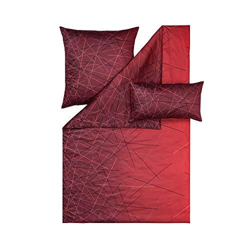 ESTELLA Bettwäsche Olivier | Ziegel | 155x220 + 80x80 cm | Mako-Satin mit seidigem Glanz | trocknerfest | atmungsaktiv und anschmiegsam | 100% Baumwolle