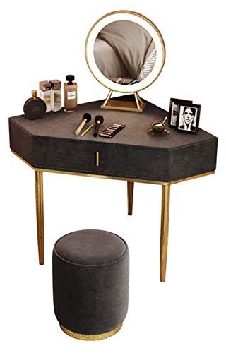 Tiiurxxy Mesa de tocador de esquina gris con espejos y cajones Tabla de tocadores, mesa de maquillaje de triángulo de madera maciza para la mesa de tocador para niñas de dormitorio Adecuado para el ho