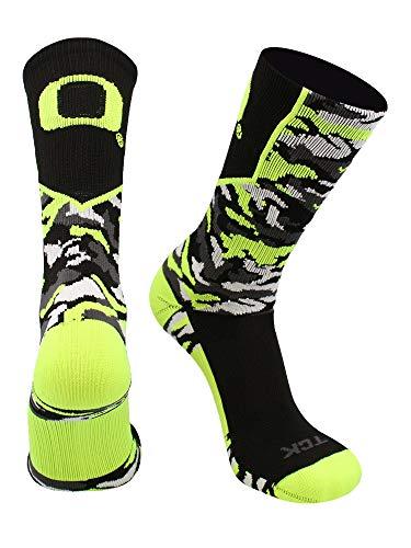 TCK Oregon Ducks Camo Crew Socken, Jungen Damen Mädchen Herren, Black/Neon Yellow, Small