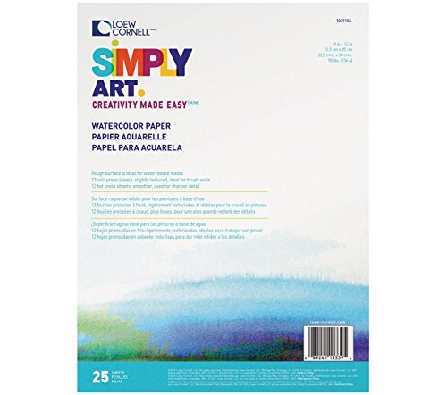 Loew-Cornell Simply Art Watercolor Paper Pads 9 inch x 12-25 Sheets (3-Pack)