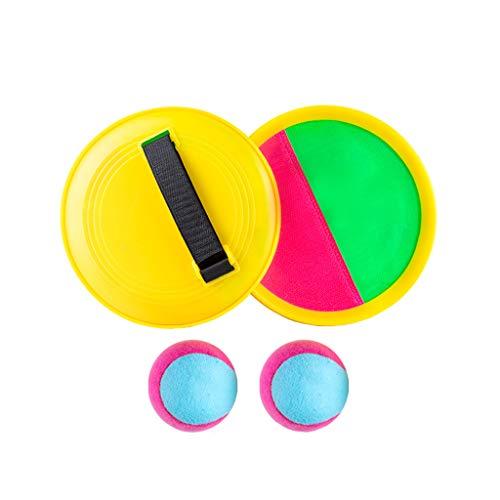 Catch Balle Racket Set, Sport Jeu Jouets Toss Set Disc Paddle Tennis Game Sucker Post-it Ball Toss et Catch Set Jeu, Enfants Cadeau,2 Plates + 2 Small Balls
