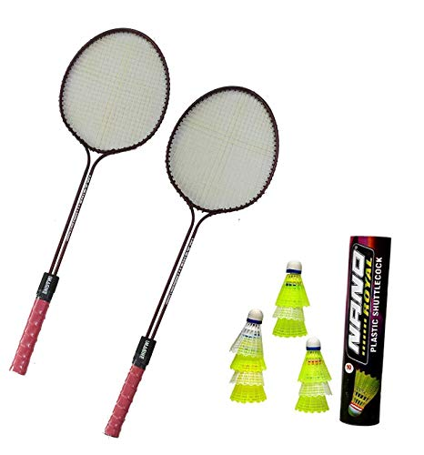 Badminton Racket Imagine Set of 2 Piece (1 Set) with 10 Piece Plastic Shuttlecock Nano Combo Pack for Boys, Girls & for Gifting...