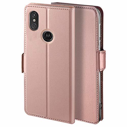 HoneyHülle für Handyhülle Motorola One Hülle Premium Leder Flip Schutzhülle für Moto One Tasche, Rose Gold