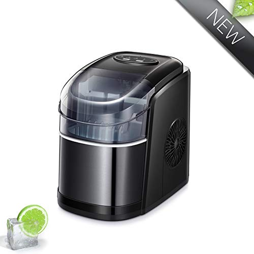 Joy Pebble Portable Ice Maker Machine, 9 Cubes Ready in 6-8 Minutes, 26lbs/24hrs, Countertop Ice Cube Maker with Ice Scoop and Basket (Black)