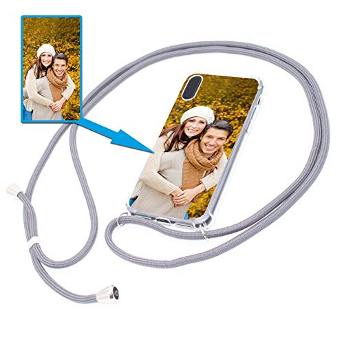 PixiPrints Personalisierte Handykette Foto-Handyhülle mit Band selbst gestalten * Bedruckt mit eigenem Foto und Text, Kompatibel mit Apple iPhone 6 / 6S, Farbe: Dunkelgrau