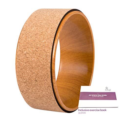 JAP Sports - Ruota Yoga – Yoga Wheel - [PRO Series] Ruota Prop Dharma Yoga più Resistente e Comoda, Accessorio Perfetto per Allungare e Migliorare i backbends, 33 x 13 cm - Legna