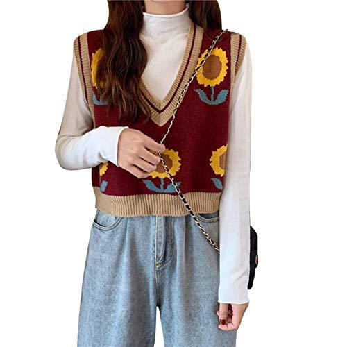 Elibeauty Damen Pullover Koreanischer Stil Casual Weste Herbst Ärmellos V-Ausschnitt Pullover Sonnenblumen Strickweste (RD-F)