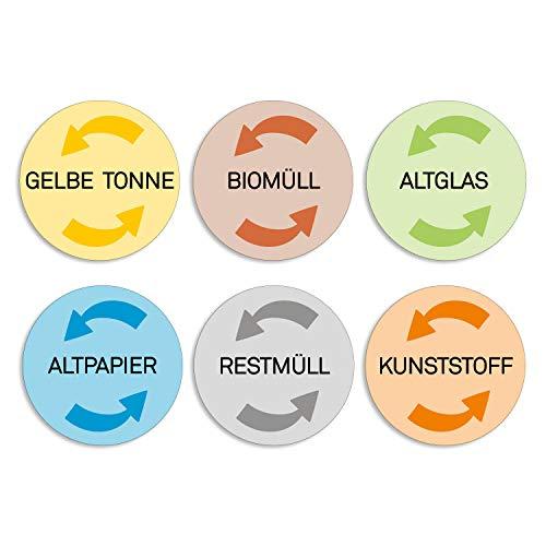 younikat 6 Mülleimer-Aufkleber zur Mülltrennung I Sticker-Set für gelber Sack Biomüll Altglas Altpapier Restmüll Kunststoff I dv_315