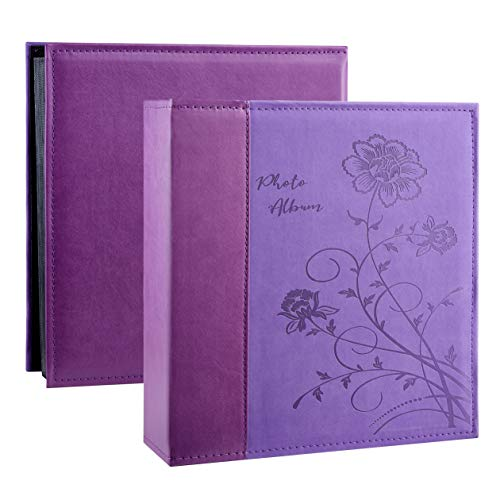 Artmag Photo Album 4x6 1000 Photos, Large Capacity Wedding Family Leather Cover Picture Albums Holds Horizontal and Vertical 4x6 Photos with Black Pages(Purple)