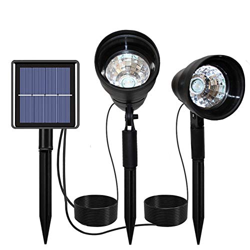 Solar spotlights Outdoor, with Separated Upgrade Outdoor Led Spot Lights, IP65 Waterproof, Solar Landscaping Light, 2-in-1 Installation, Auto On/Off for Yard, Garden, Driveway, Warm White