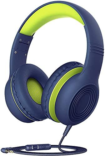 Kinder Kopfhörer, Kopfhörer Kinder mit 85/94 dB Lautstärkeregler Schalter, Over Ear Kinder Kopfhörer mit Mikrofon, Faltbar, Einstellbar, Lebensmittelqualität Material für Handy, Tablet, Laptop, PC