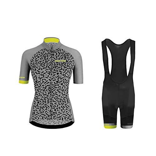 Uglyfrog 2021 Rennrad Trikot Damen Fahrradtrikot Kurzarm Radtrikot mit 20D Gel Sitzpolster Hose kurz Anzüge für Radsport Atmungsaktiv Frühling/Sommer XSVH01