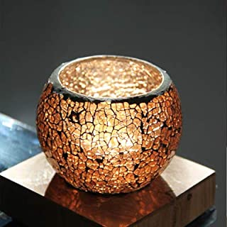 Youway Style Amber Brown Mosaic Glass Candles Holder for Home, Restaurant Decoration(7.5X 8.5 cm) (Amber Brown(Round))